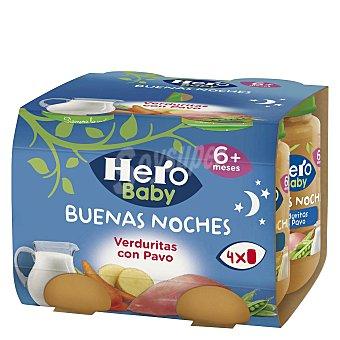 Hero Baby Buenas Noches Tarrito de verduritas con pavo Pack 4x190 g