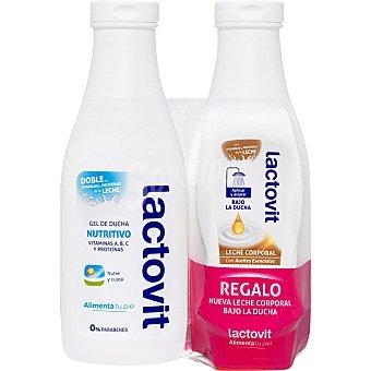 Lactovit gel de baño nutritivo con doble de vitaminas y proteínas de la leche pack 2 bote 600 ml + leche corporal bajo la ducha con aceites esenciales Pack 2 bote 600 ml