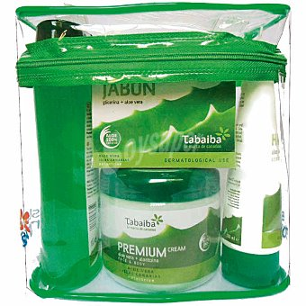 Tabaiba Neceser aloe vera con gel + jabbón de manos + crema corporal premium + crema de manos Tarro 300 ml