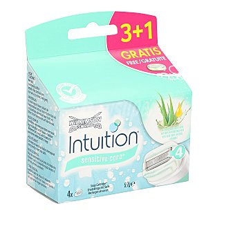 Wilkinson Recambio de cuchillas de triple hoja para maquinilla Intuition Sensitive Care Caja 4 u