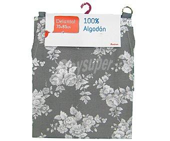 Auchan Delantal de algodón, estampado floral color gris claro, 75x85 centímetros 1 Unidad