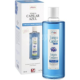 Rhun quinina Tónico capilar azul para cabellos grises y blancos con extracto de centaurea provitamina B-5 y auxinas vegetales frasco 500 ml