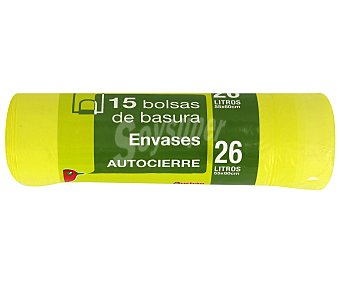 Auchan Bolsa de Basura Amarilla 15 bolsas