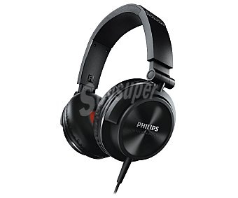 Philips Auricular tipo DJ con cable, color negro SHE3210BK