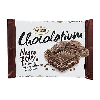 Valor Chocolate negro 70% cacao relleno de trufa y galleta de chocolate  tableta de 100 g