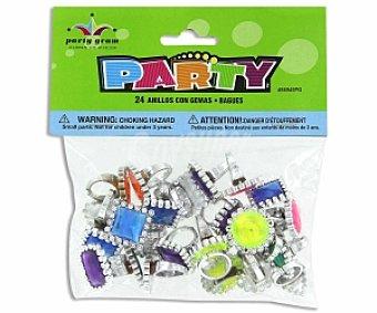 Party Relleno para piñata, anillos gemas (no recomendable para niños menores de 3 años) 24 Unidades