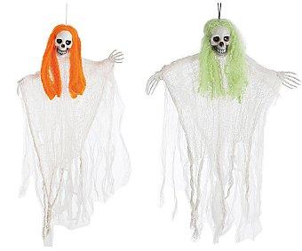 LLOPIS Accesorio de decoración Halloween Calavera colgante con pelo de colores, de 90 centímetros Colgante calavera 90cm