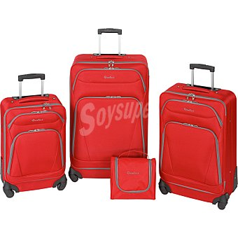 ORALLI Set de trolley 50, 60 y 70 cm en color rojo y gris 1 Unidad