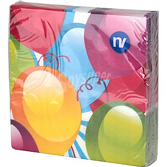 NV CORPORACION Servilletas decorado globos 33x33 cm Paquete 20 unidades