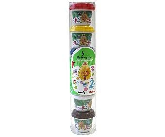Auchan Lote de de pasta blanda para modelar (plastilina) de diferentes colores 6 botes de 40 gramos