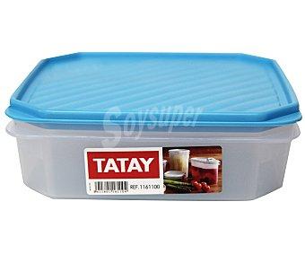 TATAY Tupper cuadrado de plásitco apto para lavavajillas y microondas, 1,3 litros 1 Unidad