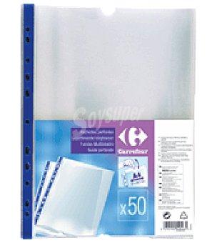 Carrefour 50 fundas perforada lado refotzado azul Calidad superior