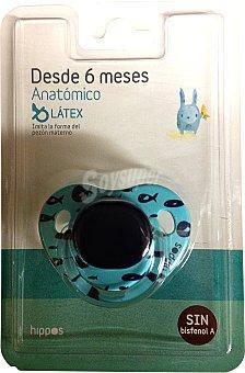 Hippos Chupete latex anatomico de 6 a 12 meses azul u