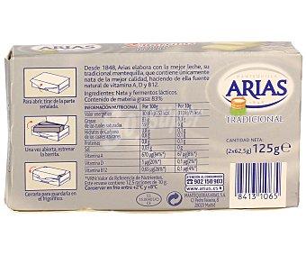 Arias Mantequilla sin Sal Pastilla de 125 Gramos