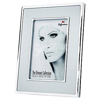 HOFMANN Portafoto Metálico en metal y piel blanca 15 x 20 cm