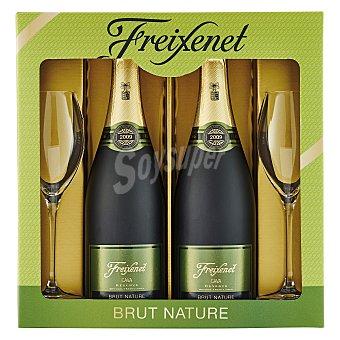 """Freixenet Estuche D.O. """"cava"""" Brut Nature reserva + regalo 2 copas Pack 2x75 cl"""
