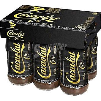 CACAOLAT Batido de cacao 0% Materia Grasa con Stevia pack 6 botellas 200 ml
