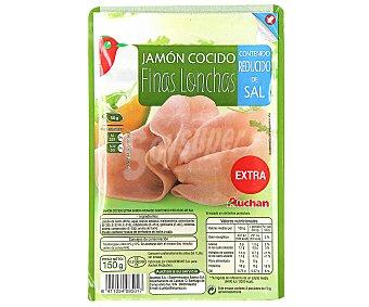 Auchan Jamón cocido en finas lonchas, contenido reducido en sal 150 gramos