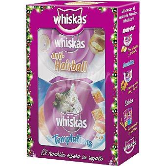 Whiskas Snacks para gato anit-hariball + temptations especial Navidad Caja 2 unidades