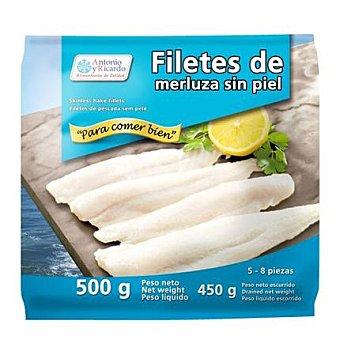 Antonio y Ricardo Filetes de merluza sin piel congelados 500 G 500 g