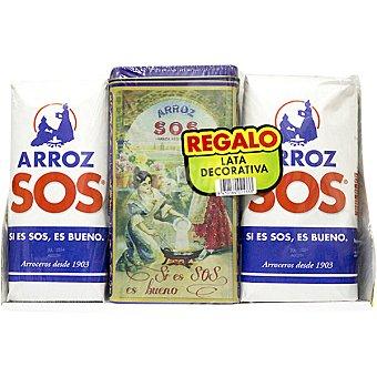 SOS lote arroz redondo + regalo lata decorativa  pack 2 envases 1 kg