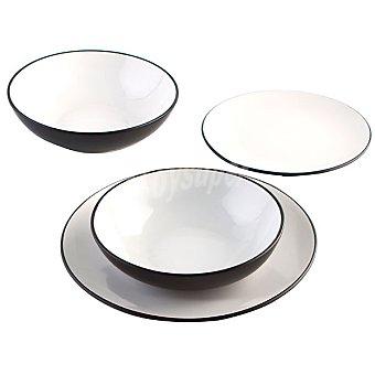 QUID Zebra Vajilla de gres 19 piezas decorada en color blanco y negro para 6 servicios