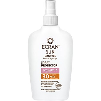 Ecran Lemonoil Spray protector Sensitive con aloe vera FP-30 resistente al agua hidrata y suaviza la piel Frasco 200 ml