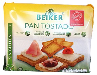 BEIKER PAN TOSTADO SIN GLUTEN Y SIN LACTOSA PAQUETE 166 g