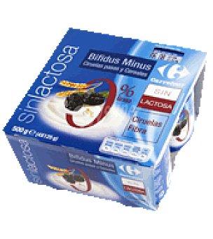 Carrefour Yogur bifidus Minus cereales/fibra 0% Pack de 4x125 g