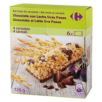 Carrefour Barritas de cereales con chocolate, uvas y pasas Carrefour 6 unidades de 21 g