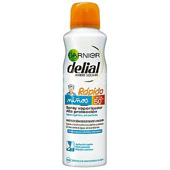 Delial Garnier Rápido bronceador para niños FP-50+ hipoalergénico sin perfume resistente al agua Spray 150 ml
