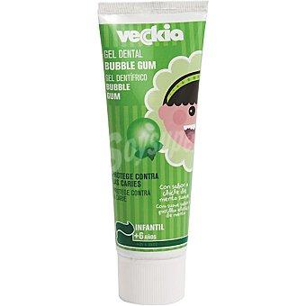 Veckia gel dentífrico infantil con sabor a chicle de menta suave a partir de 6 años Tubo 75 ml