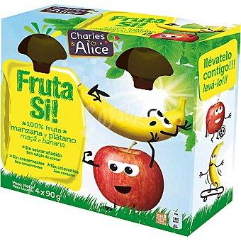 Charles & Alice Fruta si! Manzana y plátano 100% fruta lista para beber Pack 4 envases 90 g
