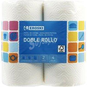 Eroski Papel de cocina compacto doble rollo 8 rollos