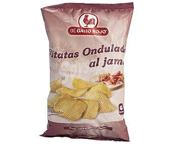 El Gallo Rojo Patatas Fritas Onduladas con Jamón 140 Gramos