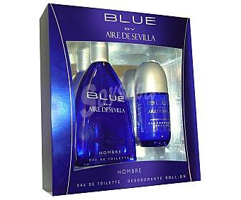 AIRE DE SEVILLA AZUL Estuche regalo para hombre con colonia de 150 mililitros más desodorante roll on de 75 mililitros 1 unidad