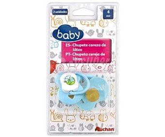 Baby Chupete cereza de látex +4 Meses, Azul 2 Unidades