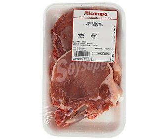Chuletas de centro de cerdo blanco cerdo blanco . Peso barqueta 300 Gramos Aproximados 2 unidades