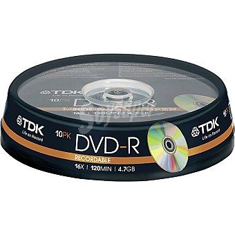 TDK Tarrina de 10 Dvd-r grabables de 4,7 GB 16x 120 mit