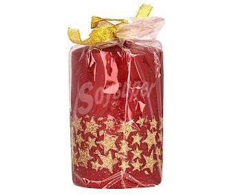 Actuel Vela de 7x11.5 centímetros de color rojo y con dibujos de estrellas doradas brillantes en su contorno ACTUEL