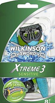 Wilkinson Maquinilla de afeitar desechable triple hoja Xtreme 3 Bolsa 8 u