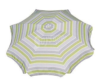 Productos Económicos Alcampo Sombrilla de 8 varillas fijo y de aluminio, con tela decorada en rayas verdes y grises 1 unidad