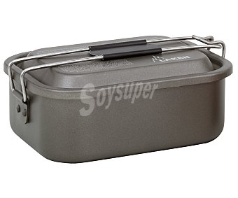 LAKEN Fiambrera rectangular con capacidad de 1.2 litros, fabricada en aluminio y con interior antiadherente 1,2l