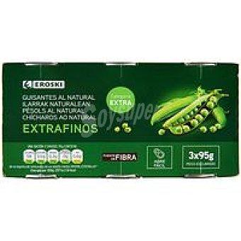 Eroski Guisante extrafino Pack 3x95 g