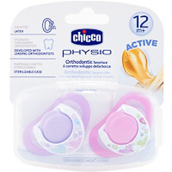 CHICCO CHUPETE PHYSIO CAUCHO ROSA 12M+ 2 UDS