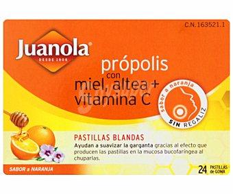 JUANOLA Pastillas blandas própolis con miel ,altea y vitamina , sabor a naranja 48 Gramos