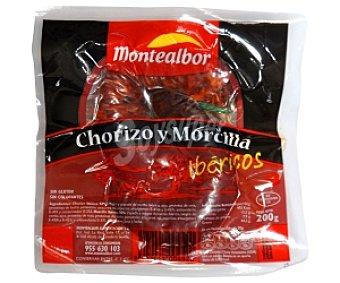 MONTEALBOR Chorizo morcilla Ibérico 200 Gramos