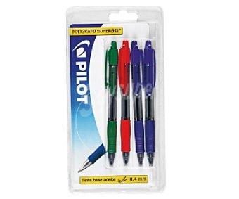 PILOT SUPER GRIP Lote de 4 bolígrafos retráctiles, de grip suave, punta fina con grosor de escritura fina de 0.4 milímetros y tinta con base de aceite de colores azul, negro y rojo pilot supergrip 1 unidad 1 unidad