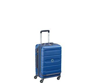 VISA DELSEY Easy Trip Maleta de cabina rígida color azul con 4 ruedas, 55cm, cierre con código y TSA. DELSEY.