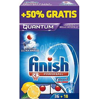 FINISH Calgonit detergente lavavajillas Power Ball Quantum limón  caja 36 pastillas + 18 gratis